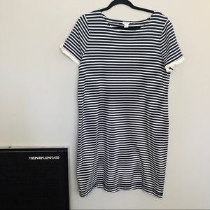 J. Crew Factory Navy & White Striped T-Shirt Dress